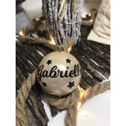 Boule de Noël beige personnalisée- Une déco personnalisée pour votre sapin