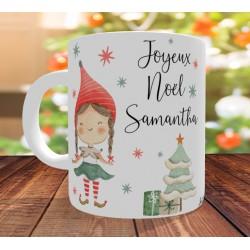 Mug Joyeux Noel Lutin fille - Cadeau de Noël personnalisé
