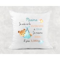Coussin de naissance personnalisé - Cadeau Naissance Bébé