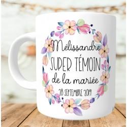 Mug personnalisé Super témoin Fleurs aquarelle - Personnalisé prénoms, date, prénoms des mariés