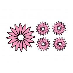 """Appliqué thermocollant """"Lot de 5 fleurs bicolores"""""""