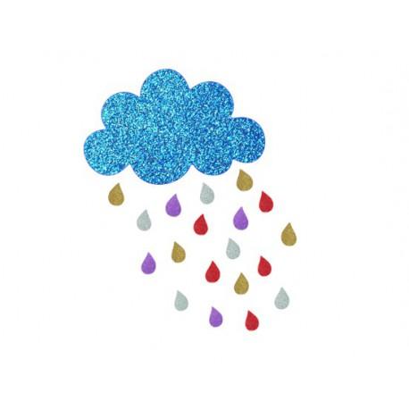 nuage et gouttes de pluie appliqué a thermocoller