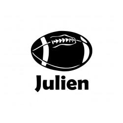 """Appliqué """" Ballon de rugby + prénom"""" en flex thermocollant"""