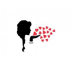 "Motif thermocollant ""Silhouette princesse baisers""bicolore"