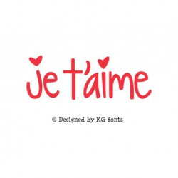 "Texte ""Je t'aime"" à thermocoller design by KG Fonts"