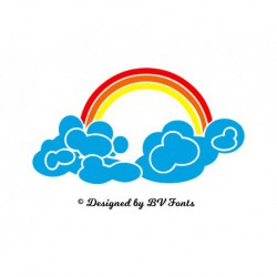 "Appliqué ""Nuage Arc en Ciel V2"" en flex thermocollant design by BV Fonts"