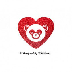 "Appliqué ""Panda Coeur"" en flex thermocollant design by BV Fonts"