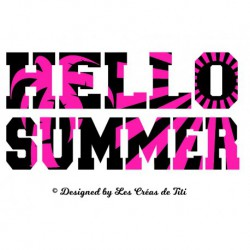 "Appliqué ""Hello Summer"" en flex thermocollant"