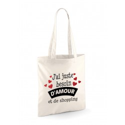 "Tote Bag ""Amour et shopping"""