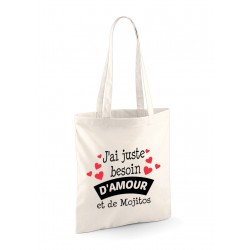"Tote Bag ""Amour et Mojitos"""