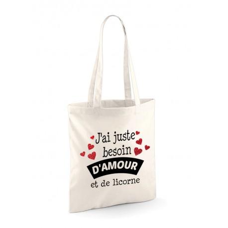 Tote Bag amour et licorne
