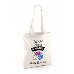 """Tote Bag """"Amour et Licorne"""" modèle 2"""