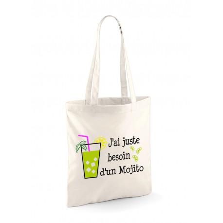 """Tote Bag """"J'ai juste besoin d'un Mojito"""" modele 2"""