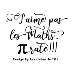 """Texte """"J'aime pas les maths"""" à thermocoller"""