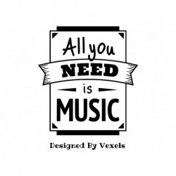 "Appliqué 'All you need is music"" motif à thermocoller"