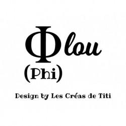 "Texte humour grec ""Phi lou"" en flex thermocollant"