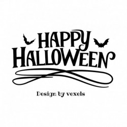 "Motif thermocollant "" Texte Happy Halloween"" en flex thermocollant"
