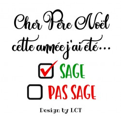 "Texte thermocollant Noël ""Sage / Pas Sage"""