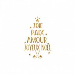 Appliqué thermocollant Joie Paix Amour en forme de Sapin