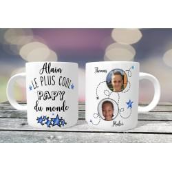 Mug personnalisable Le Plus cool Papy du monde prénom + 2 Photos
