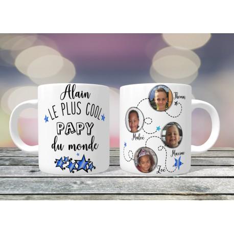 Mug personnalisable Le Plus cool Papy du monde prénom + 3 photos