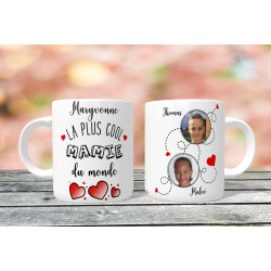 Mug personnalisable La plus cool mamie du monde prénom + 2 Photos