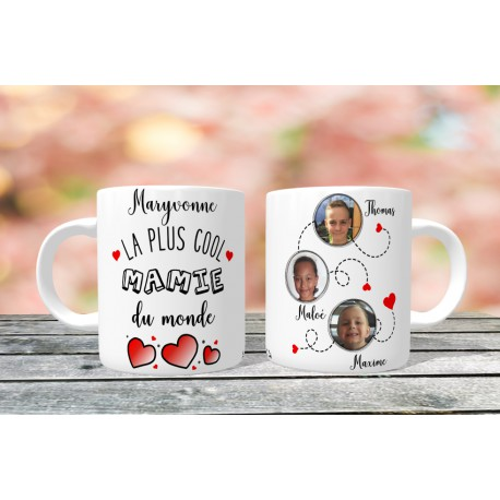 Mug personnalisable La plus cool mamie du monde prénom + 3 Photos
