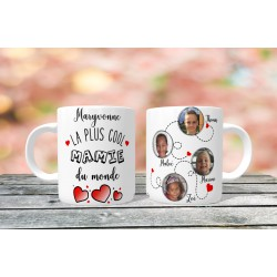 Mug personnalisable La plus cool mamie du monde prénom + 4 Photos