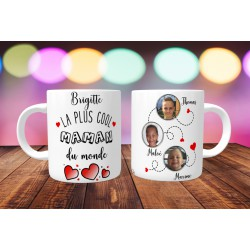 Mug personnalisable La plus cool maman du monde prénom + 3 Photos