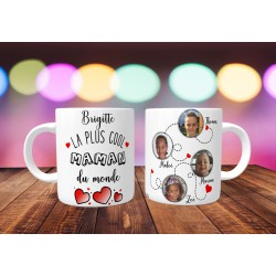 Mug personnalisable La plus cool maman du monde prénom + 4 Photos