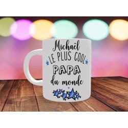 Mug personnalisable Le Plus cool papa du monde avec prénom