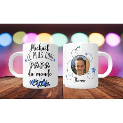 Mug personnalisable Le Plus cool papa du monde prénom + 1 photo