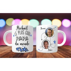 Mug personnalisable Le Plus cool papa du monde prénom + 2 Photos