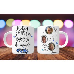 Mug personnalisable Le Plus cool papa du monde prénom + 3 photos