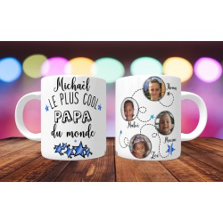 Mug personnalisable Le Plus cool papa du monde prénom + 4 photos