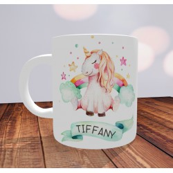 Mug Licorne avec prénom personnalisé