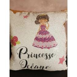 Housse coussin sequins personnalisée - Princesse + Prénom