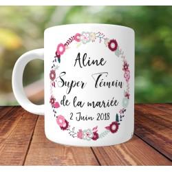Mug Super Témoin - Personnalisé prénoms et date