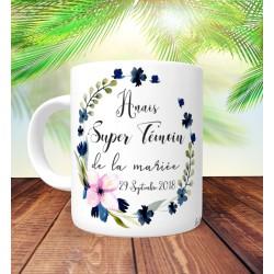 Mug Super Témoin Floral Marine- Personnalisé prénoms et date