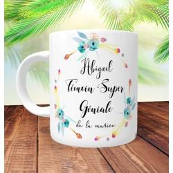 Mug Témoin Super Géniale Floral Jaune- Personnalisé prénoms et date