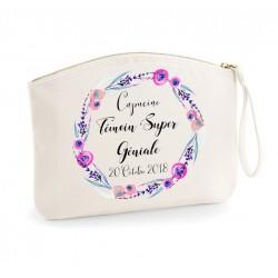 Trousse Témoin super géniale floral rose - personnalisation prénom + date