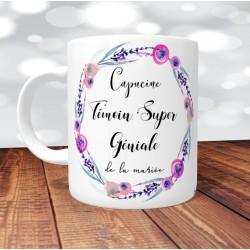 Mug Témoin Super Géniale Floral Rose- Personnalisé prénoms et date