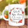 Mug Super Témoin Floral modele automne - Personnalisé prénoms et date