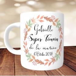Mug Super Témoin Fleurs automne - Personnalisé prénoms et date