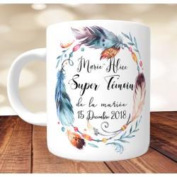 """Mug """"Super Témoin"""" Esprit Dreamcatcher plumes et perles - Personnalisé"""