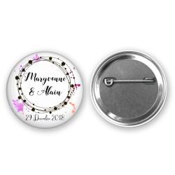 Badge Mariage Personnalisé - Prénoms des mariés et date