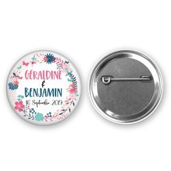 Badge Mariage Personnalisé couronne fleurs- Prénoms des mariés et date