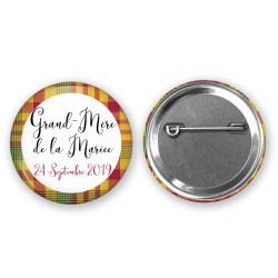Badge Madras personnalisé cadeau invités mariage - Plusieurs coloris