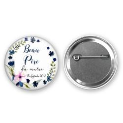 Badge mariage sur mesure pour vos invités - Thème fleurs bleues