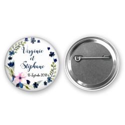 Badge Personnalisé Prénom des mariés et date - thème fleurs bleues